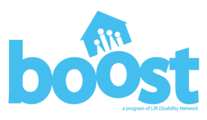 Image: lift disability network boost program logo. Color: blue