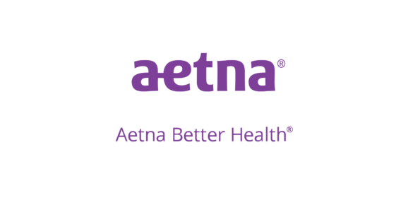 "Logo for at the healthcare; purple lettering, ""Aetna better health."""